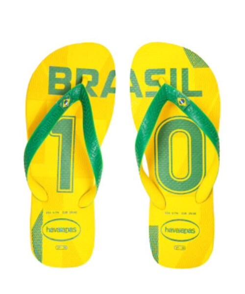 havaianas(ハワイアナス)の「サッカーブラジルのユニフォーム10番柄のビーサン。黄色と緑の色合いが夏にピッタリ。今はネイマールだけど、一昔前はカカだったのだ…2010年W杯が盛り上がった時にカカが好きになって買ったもの(にわか)(ビーチサンダル)」