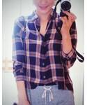 GU | ブラウン×ネイビーのチェックシャツ(シャツ・ブラウス)