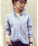 無印良品 | オーガニックコットン洗いざらしオックスボタンダウンシャツ ネイビー M(シャツ・ブラウス)
