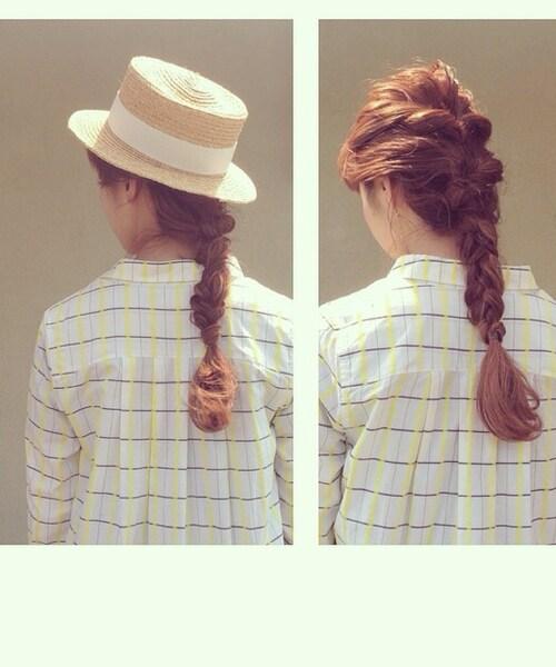 ヘアアレンジ 帽子 三つ編み