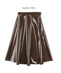 光沢素材レザーフレアスカート(スカート)