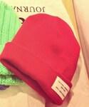 ニット帽:赤色バージョン(ニットキャップ・ビーニー)