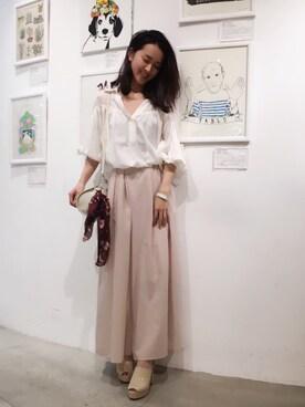 USAGI ONLINE STORE|shizuka ishiguroさんの「スカートライクワイドパンツ(snidel)」を使ったコーディネート