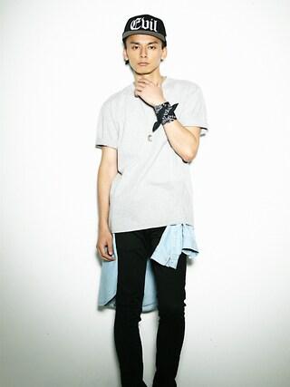 LEGENDA|LEGENDA_TOKYOさんの「BAPHOMET PAINTING ビッグTシャツ(LEGENDA|レジェンダ)」を使ったコーディネート