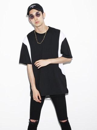 LEGENDA|LEGENDA_TOKYOさんの「MONOTONE 切り替えBIGシルエットクルーネックTシャツ(LEGENDA|レジェンダ)」を使ったコーディネート