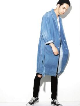 LEGENDA|LEGENDA_TOKYOさんの「ロング丈デニムガウンコート(LEGENDA)」を使ったコーディネート