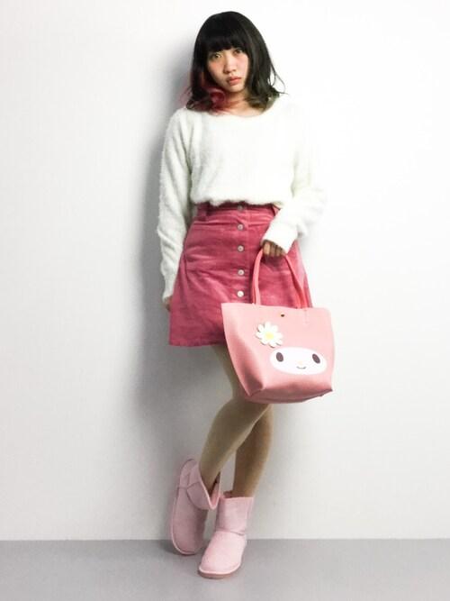 ZOZOTOWN|椎名成美さんのスカート「コーデュロイ台形スカート(jouetie|ジュエティ)」を使ったコーディネート