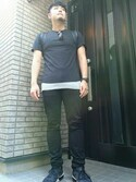 「Balmain Three-Pack Slim-Fit Distressed Cotton-Jersey T-Shirts(Balmain)」 using this はぎわら looks