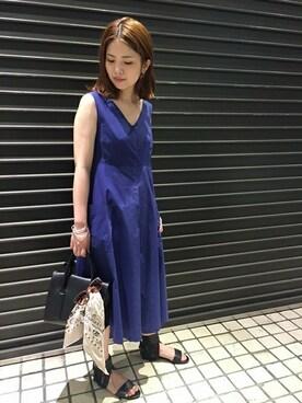 Noble 横浜店|yuriさんの「タイプライター タックフレアワンピース◆(Spick and Span Noble)」を使ったコーディネート