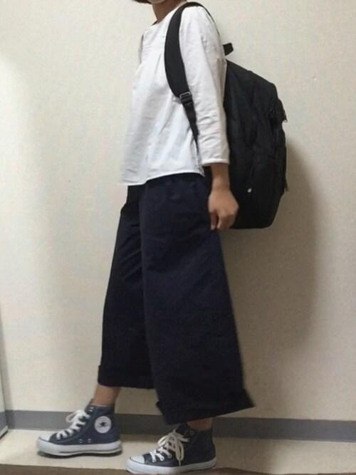 Ayakaさんの「WOMEN コットンドビーレースTブラウス(8分袖)(ユニクロ)」を使ったコーディネート
