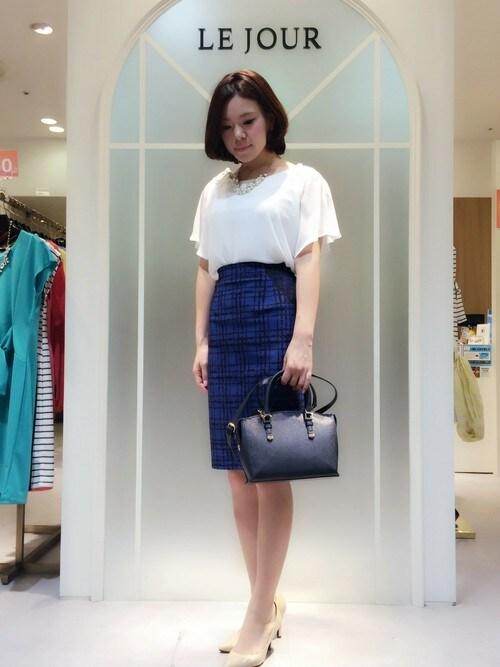 shiiiさんの「スレンダーチェックスカート(LE JOUR)」を使ったコーディネート
