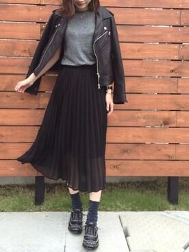 ukapiさんの「シフォンプリーツスカート 713473(LOWRYS FARM|ローリーズ ファーム)」を使ったコーディネート