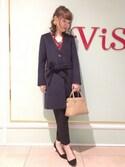 Yuiさんの「ロングボウタイブラウス(ViS|ビス)」を使ったコーディネート