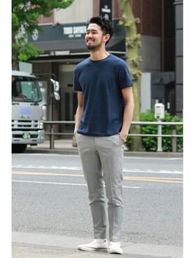 EDIFICE TOKYO 渋谷店|EDIFICE TOKYO店スタッフ6さんのTシャツ/カットソー「◇梨地(ナシジ)クルーネックTシャツ(EDIFICE|エディフィス)」を使ったコーディネート