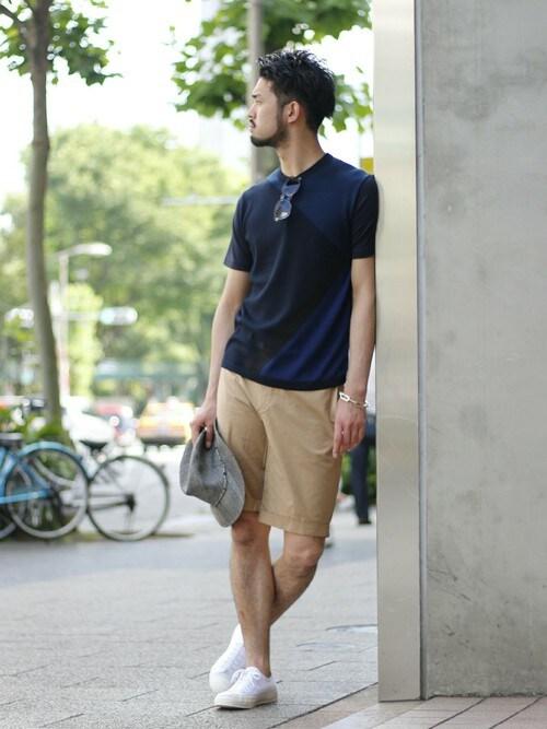 EDIFICE TOKYO 渋谷店TERAさんのTシャツ/カットソー「◇ジオメトリック ニット*カット-Tシャツ(EDIFICE エディフィス)」を使ったコーディネート