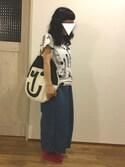 saniさんの「*カモメ プリント 総柄Tシャツ*(peu pres|プープレ)」を使ったコーディネート