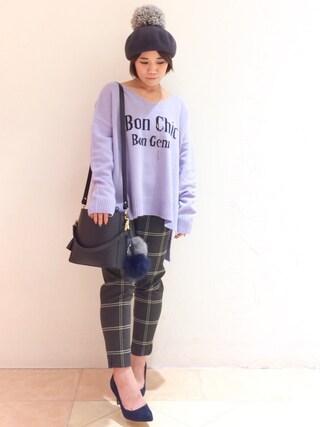 JINES|Jines Officialさんの「Bon chic インターシャ Vネック ニット プルオーバー(Jines|ジネス)」を使ったコーディネート