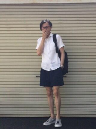 のっちっちさんの「スラブ無地レギュラーシャツ(ikka|イッカ)」を使ったコーディネート