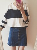 「Moto bright blue button front a-line skirt(Topshop)」 using this 155 looks