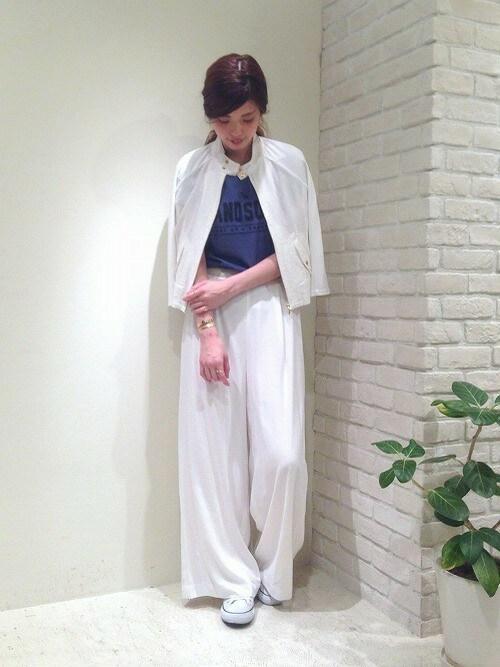 miura.さんの「レーヨン麻×カットコンビ スウィングトップブルゾン(FIL DE FER)」を使ったコーディネート