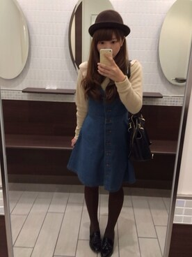 maiko*さんの「(GU)フレアージャンドレ(デニム)ET(GU|ジーユー)」を使ったコーディネート