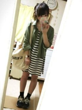 maiko*さんの「ワークショートシャツ7分袖 563314(Heather)」を使ったコーディネート