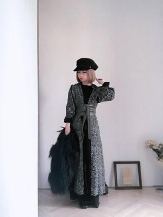 emi さんの「袖&裾プチフリルラウンドネックリブ編みコットンブレンド長袖ニット(select MOCA|セレクトモカ)」を使ったコーディネート