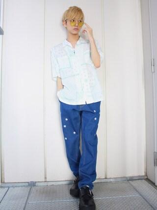こんどうようぢさんの「WEGO/ペイズリールーズ5分袖シャツ(WEGO|ウィゴー)」を使ったコーディネート