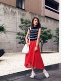 MANAさんの「ふんわりフレアで女性らしく!ウエストゴム★イレギュラーヘム膝丈スカート/ミモレ丈[M1636](KOBE LETTUCE|KOBE LETTUCE)」を使ったコーディネート