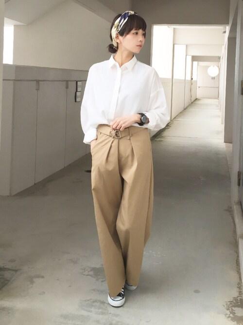 浅倉 まいさんの「manipuri プリントスカーフ65*65(IENA)」を使ったコーディネート