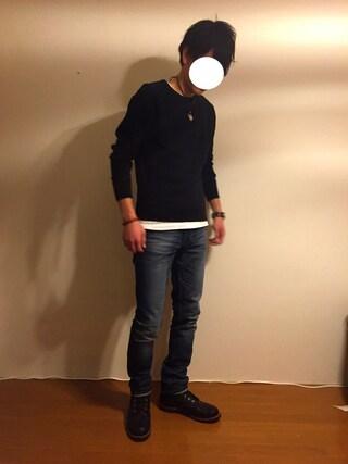 Hirokichiさんの「【Hanes/ヘインズ】ジャパンフィット JAPAN FIT 【2枚組】クルーネックTシャツ(HANES|ヘインズ)」を使ったコーディネート