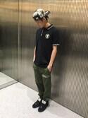 吉田隼太郎さんの「AAPE POLO:ポロシャツ(AAPE BY A BATHING APE|エーエイプバイアベイシングエイプ)」を使ったコーディネート
