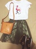 chika   rrrさんの「40/2天竺 フラミンゴスパンコールT-シャツ(CHILD WOMAN|チャイルドウーマン)」を使ったコーディネート