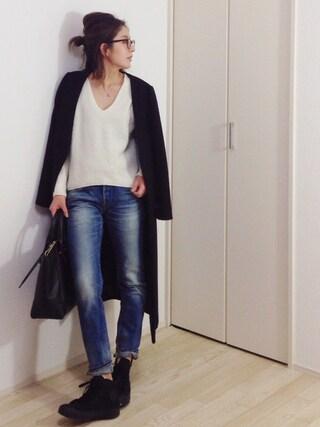 """mayumiさんの「TODAYFUL(トゥディフル)  """"Melton Long Coat""""メルトンロングーコート(TODAYFUL トゥデイフル)」を使ったコーディネート"""