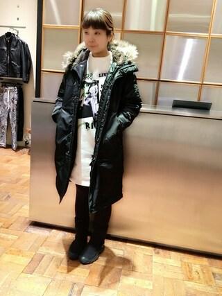 「プリマロフトエアフォース フーデッドCO(HYSTERIC GLAMOUR)」 using this HYSTERIC GLAMOUR福岡店|happachin looks