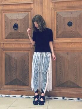 レイ ビームス 新宿|中川遥さんの「■Ray BEAMS / レースシアー ギャザースカート(Ray BEAMS)」を使ったコーディネート