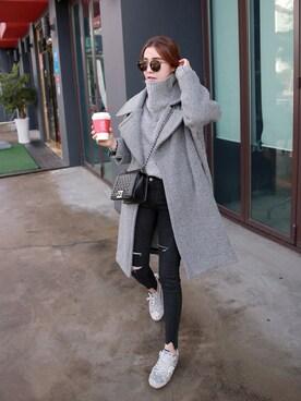Miamasvin|Miamasvinさんの「ウール混紡ビッグカラーロングコート」を使ったコーディネート
