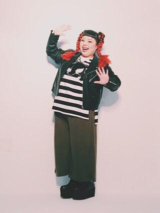 渡辺直美さんの「ポンチガウチョパンツ(PUNYUS|PUNYUS)」を使ったコーディネート