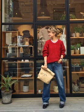 LIFE's堀江店|MIZUKI TANAKAさんの「クルーネックBIGニット(TODAYFUL)」を使ったコーディネート