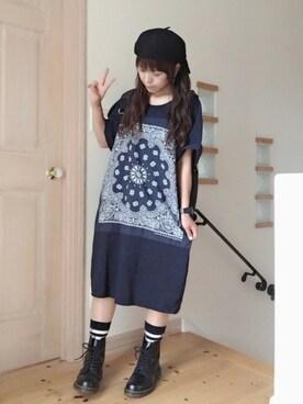 キラ☆キラさんの「CHED / バンダナ パッチ Tシャツワンピース(BEAMS BOY)」を使ったコーディネート