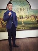 KIYOHISAさんの「「Cricket」クリケット/オリジナル花柄デニム風プリントネクタイ(Cricket|クリケット)」を使ったコーディネート