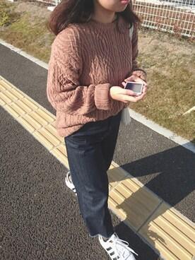 haruさんの「CONEデニムワイドクロップドパンツ 712533(LOWRYS FARM|ローリーズ ファーム)」を使ったコーディネート
