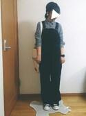 ばな奈さんの「【PLAIN CLOTHING】ベロアクロスヘアバンド(PLAIN CLOTHING|プレーンクロージング)」を使ったコーディネート