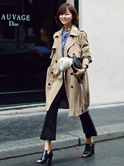 女性のビジネスカジュアル王道コーデ9:コート×パンツ