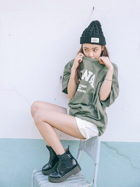 STYLENANDA|STYLENANDAさんの「レタリングプリントビッグTシャツ(STYLENANDA)」を使ったコーディネート