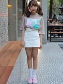 STYLENANDAさんの「パームツリーポイントTシャツ(STYLENANDA|スタイルナンダ)」を使ったコーディネート