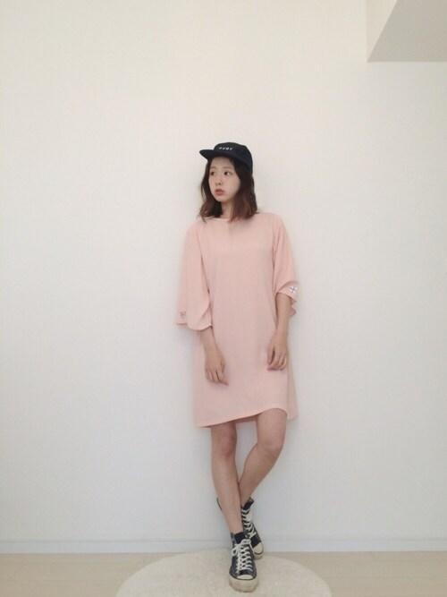 ピンク チュニック 大人可愛い系ファッション アラフォー