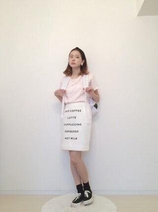 AMOさんの「ロゴプリントTシャツ(RUBY AND YOU|ルビー アンド ユー)」を使ったコーディネート