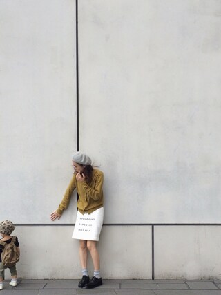 AMOさんの「メニュープリントスカート(RUBY AND YOU|ルビー アンド ユー)」を使ったコーディネート