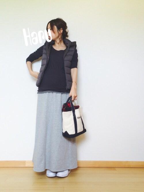 ゆるコーデ ロングスカート マタファッション 臨月